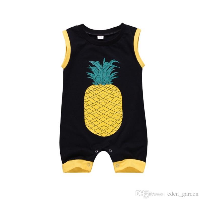 Erkek Bebek Giyim Ananas Baskılı Bebek Kız tulum Kolsuz Bebek Tulumlar Karikatür Yenidoğan Bebek Giyim YW4017-L Giyim Tırmanma