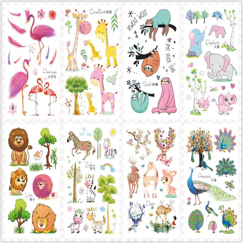 mucchio Temporary Tattoos Rocooart 2020 Nuovo Cute Cartoon Flash Taty Flamingo Lion temporaneo impermeabile adesivi Tattoo per i bambini Body Art ...