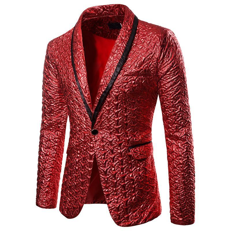 Mens Shawl Collar One Button Blazer Jacket 2019 Luxury Shiny Red Fold Design Party Wedding Blazer Men Stage Singer Costume Homme
