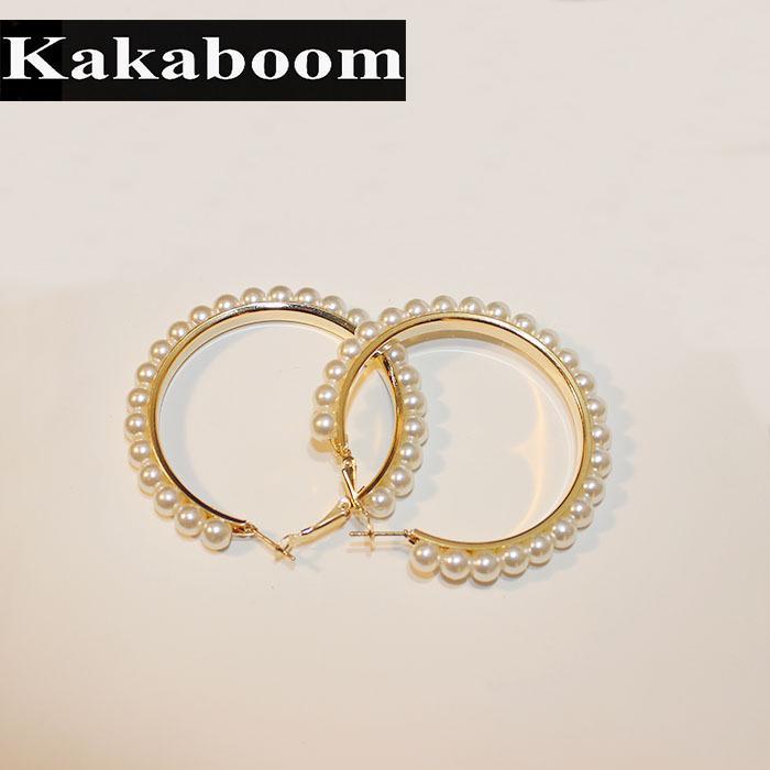 Kakaboom 5cm Perles Boucles d'oreilles pour les femmes filles bijoux de mode belle délicate élégante accrssories populaire Boucles d'oreilles Hoop