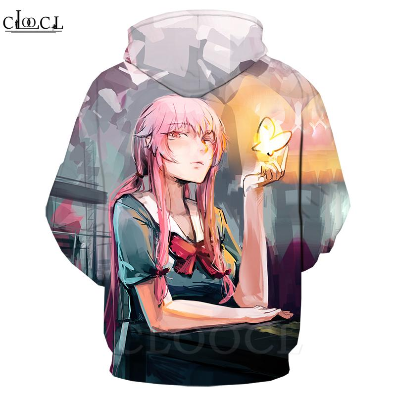 2020 New Style Anime 3D Future Diary Hoodie unisexe Imprimer Gasai Yuno Sweat-shirt Vêtements pour hommes Casual Streetwear Casual Coat