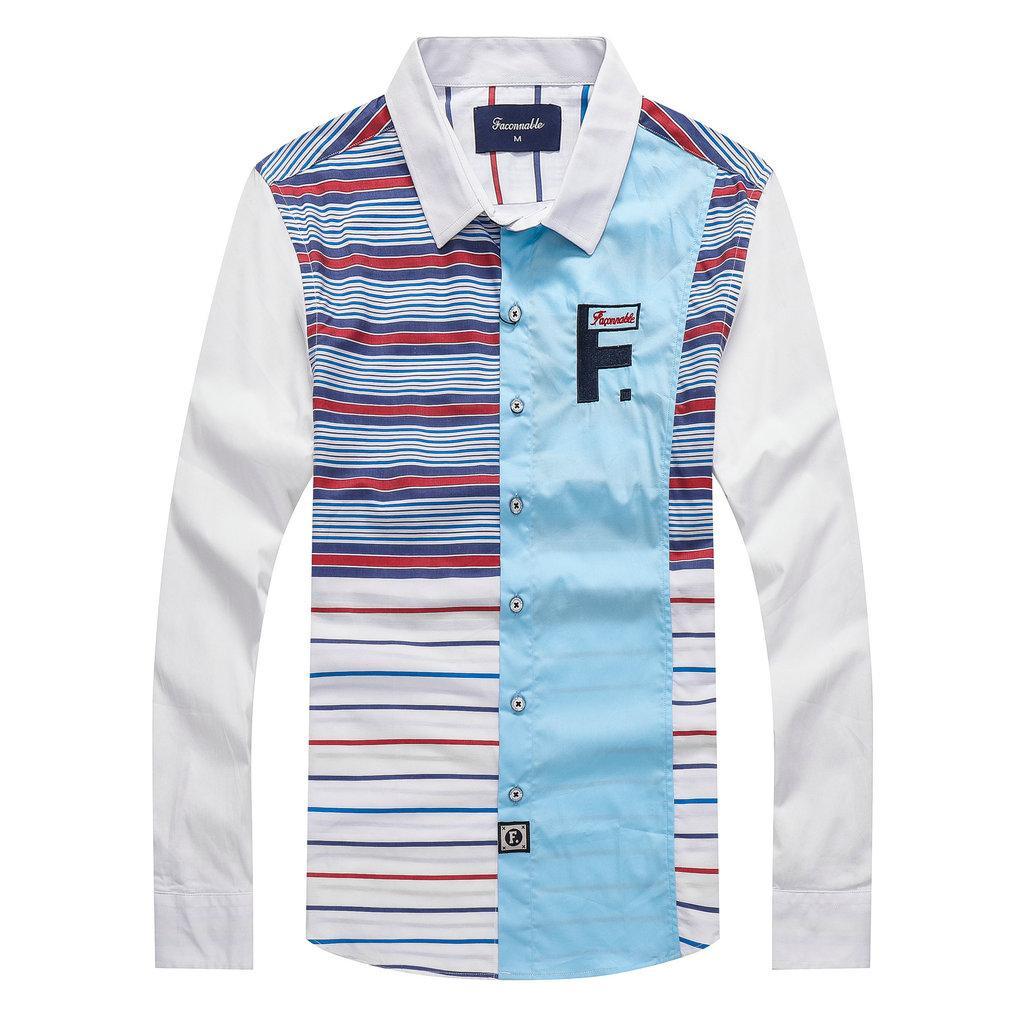 Faconnable Frankreich Marke 2020 Eden Hemd der Männer T-Shirts Herren Hemd-beiläufige Baumwoll Park Chemise homme lässige Shirts Große M-XXL