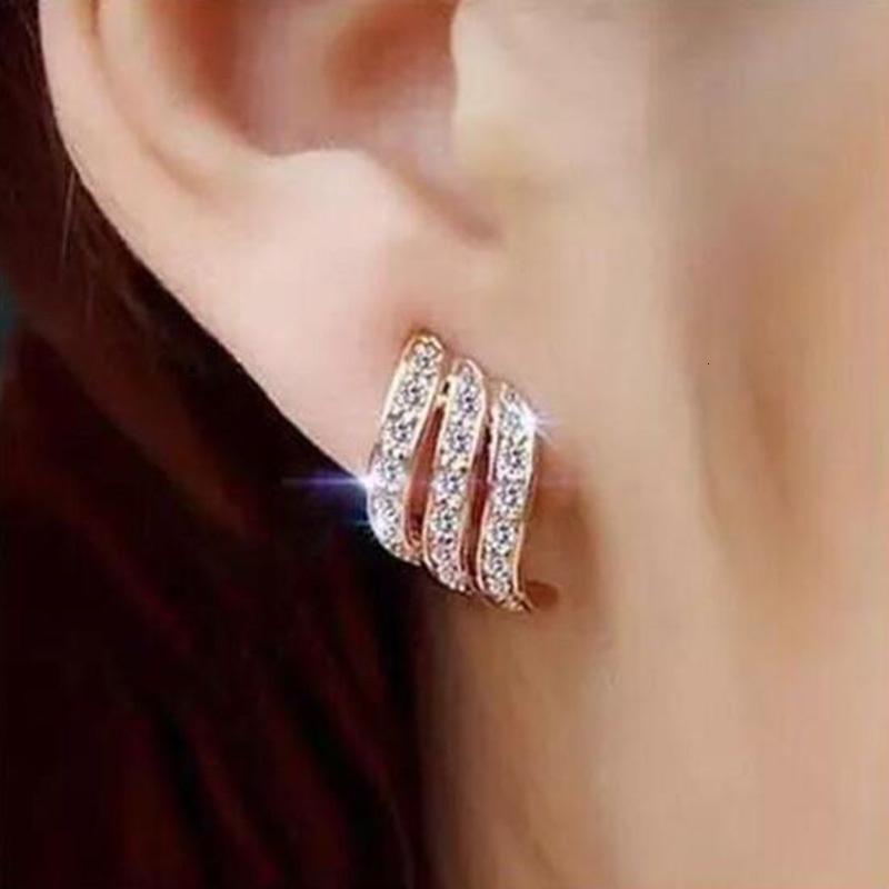 Articoli da regalo di modo di colore oro stile coreano di cristallo semplice orecchini per le donne Wedding Jewerly nuziale fidanzamento orecchini femminili
