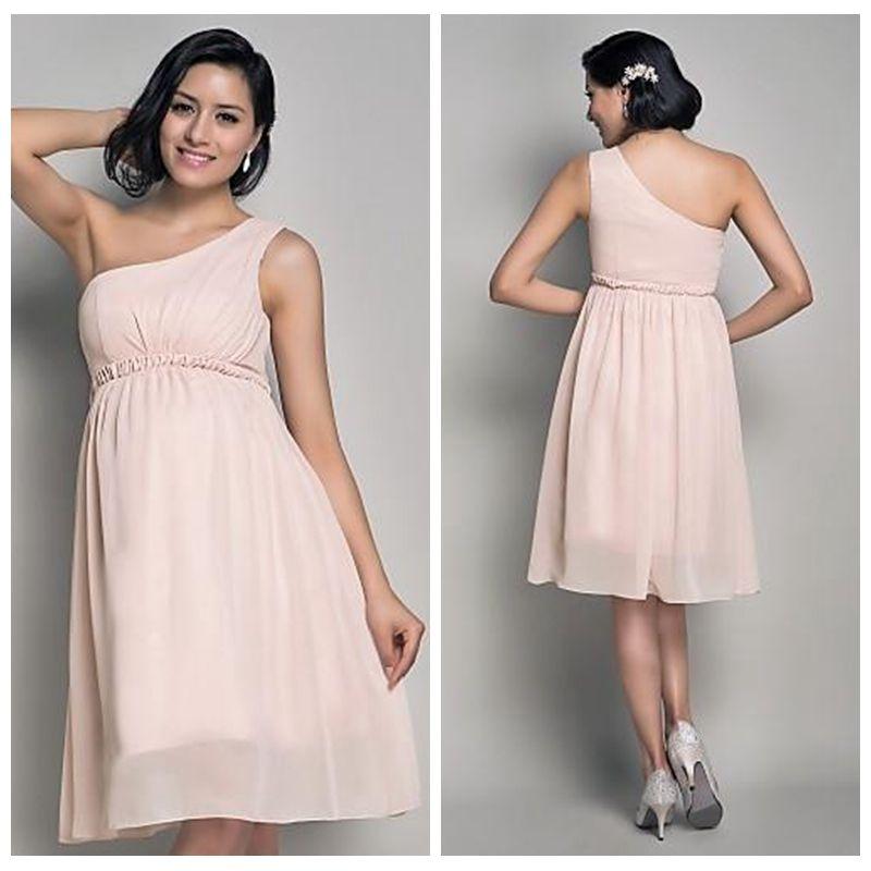 One Shoulder Chiffon Short Pregnant Prom Dresses 2019 Knee Length Custom Vestidos De Special Occasion Party Gowns Simple Cheap Sale