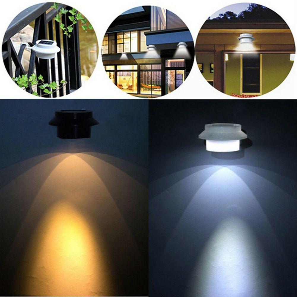 3 LED Solar Powered Outdoor Garden Yard Wall Fence Pathway Lamp Gutter Light