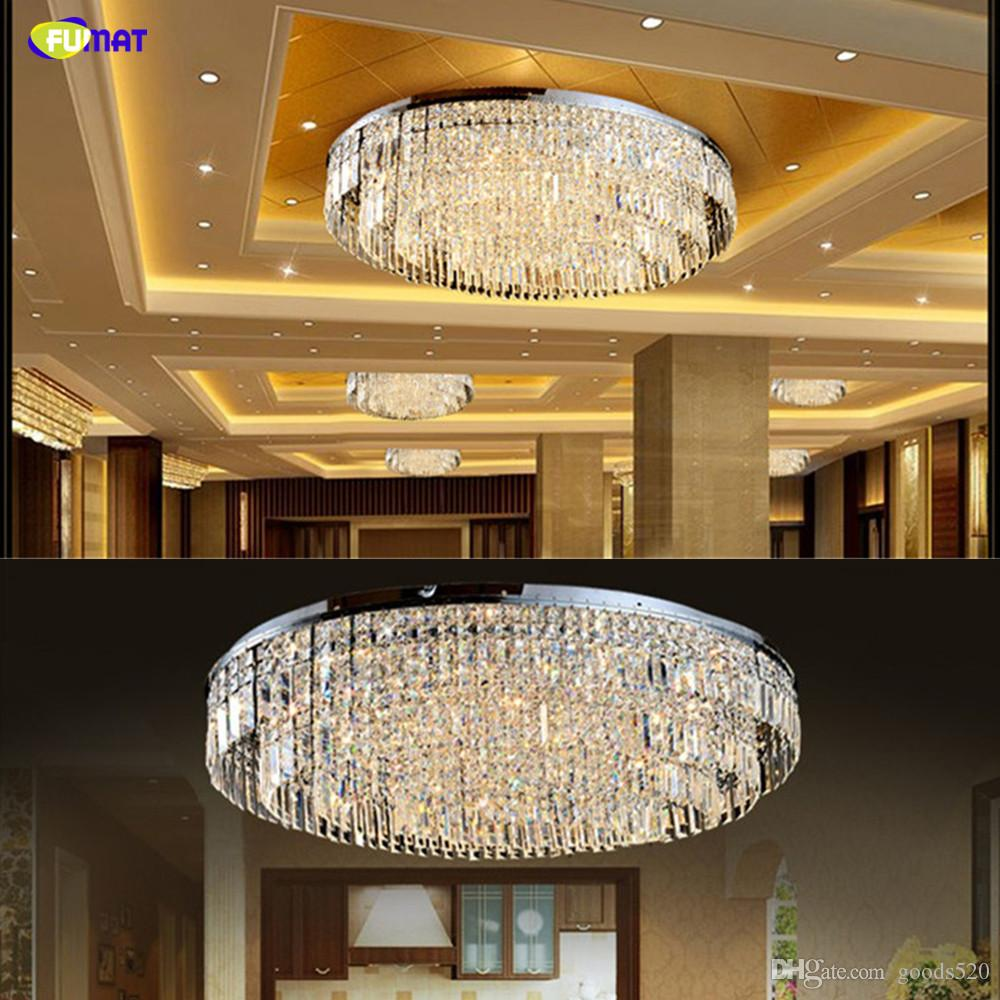 FUMAT Modern Ceiling Lights Luxury Crystal Lustre K9 Crystal LED Light Oval Hang Light Hanging Lamp for Living Room Hotel Hall