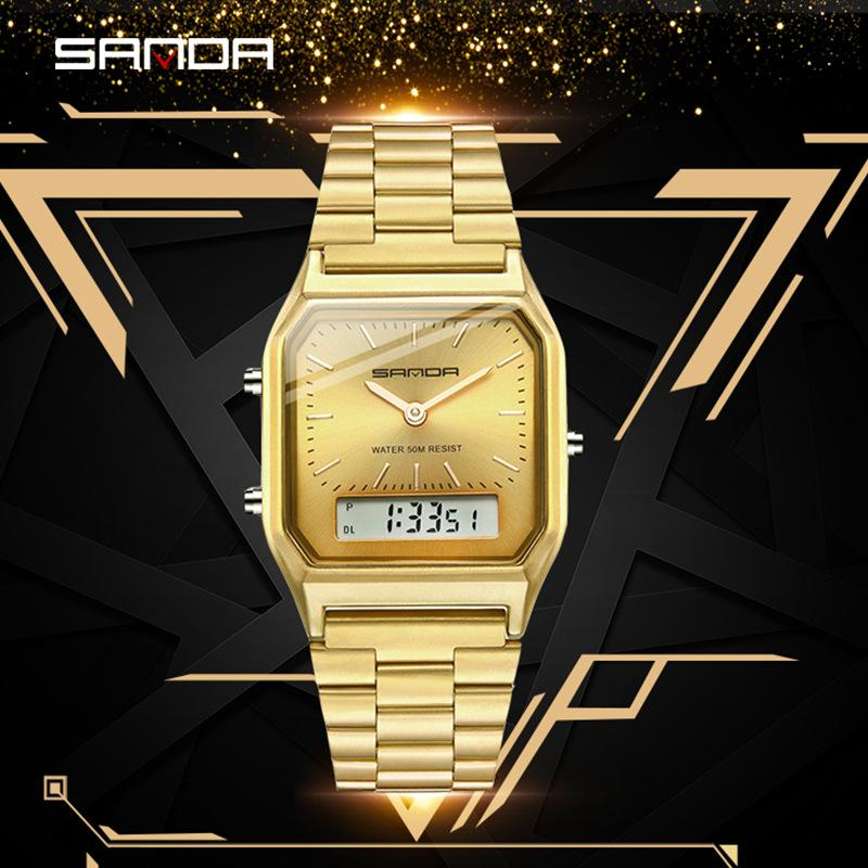 Mulheres de Aço Criativo SANDA 2019 Relógio de ouro Mulheres Relógios das senhoras de pulseira relógios LED relógio eletrônico