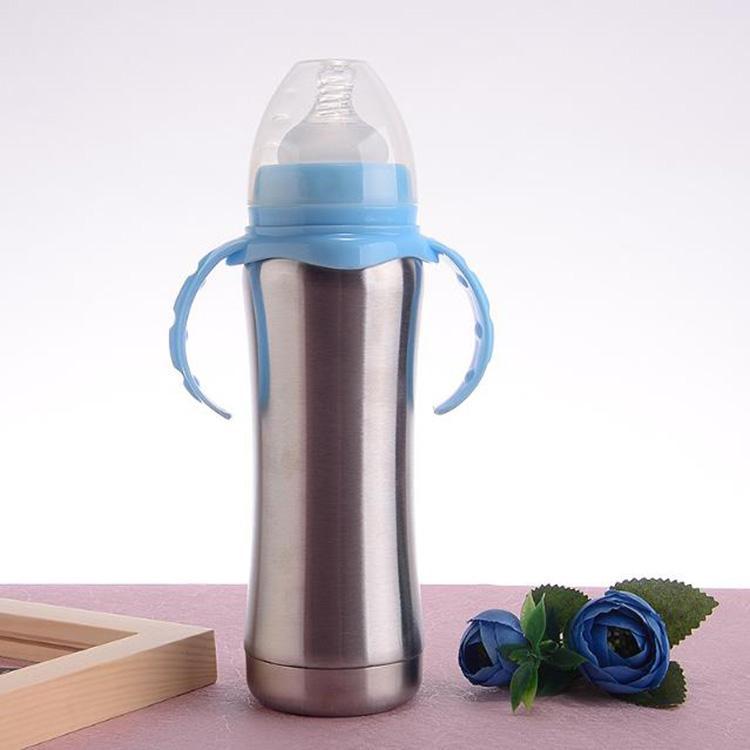garrafa de 8 onças de leite infantil copo Sippy parede da garrafa de alimentação de enfermagem isolamento duplo com punho garrafa de água 304 de aço inoxidável