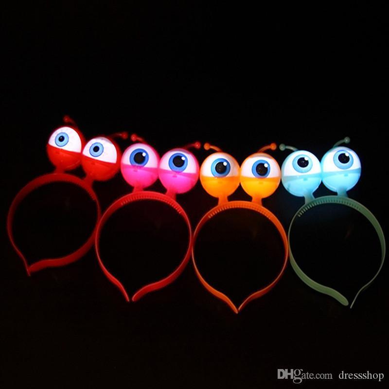 Luminous alien headband flash Christmas glasses hairband children's eyes hairpin concert toys wholesale