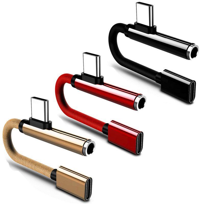Nylon USB-Typ C-Adapter-Ladegerät Audiokabel 2 in 1 Typ-C bis 3,5-mm-Jack-Kopfhörer AUX-Konverter für Samsung Xiaomi Huawei