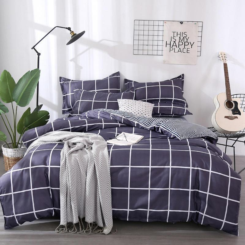 54 لون 3 / 4pcs مجموعة مفروشات نمط هندسي حاف السرير CoverFlat SheetPillowcase لينة مريحة المنسوجات المنزلية بالجملة