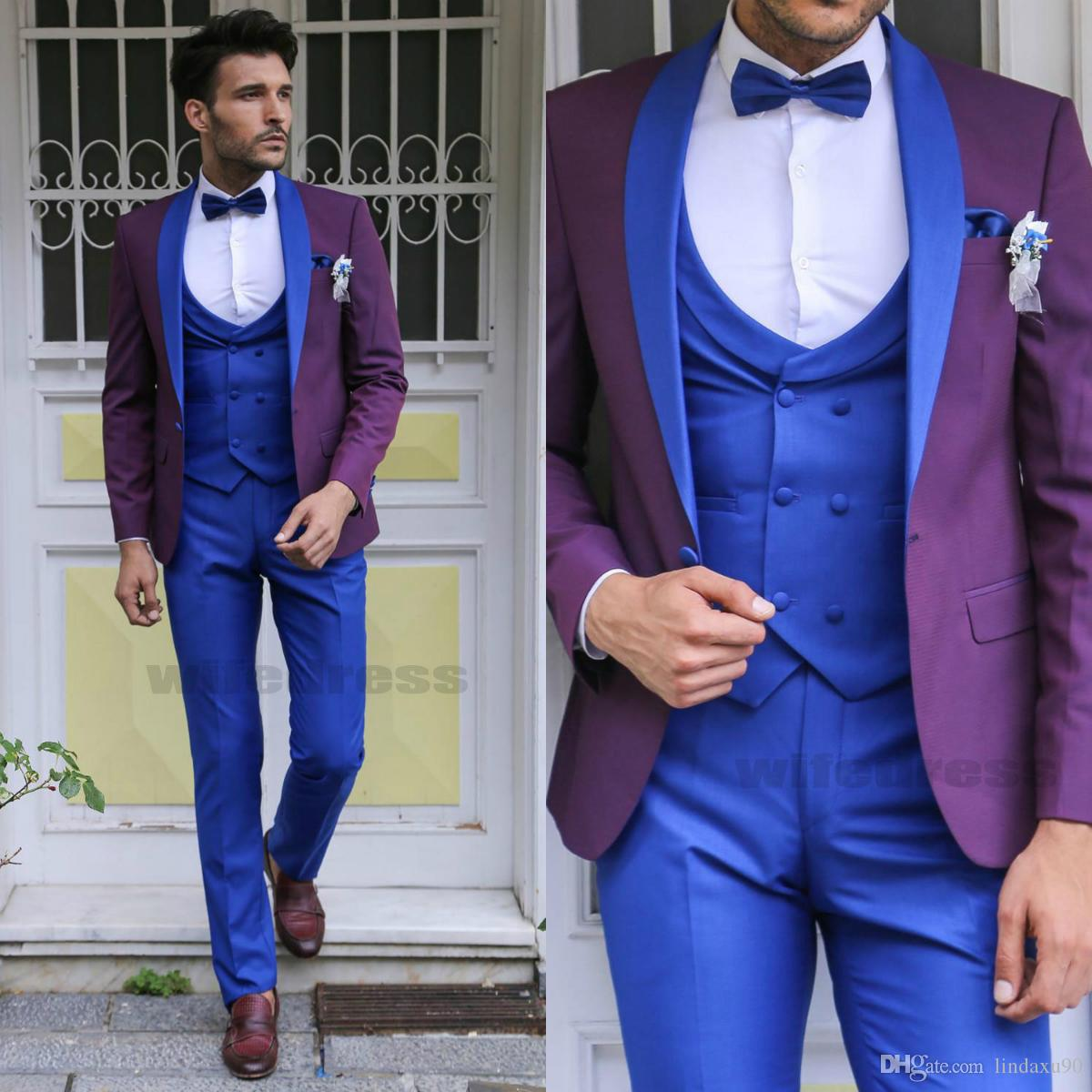Fashion Wedding Tuxedos Bride Groom Suits For Men Blue And Purple Formal  Groom Tuxedos Lapel Jacket+Pants+Tie+Vest Mens Wedding Suit Summer Suits  For