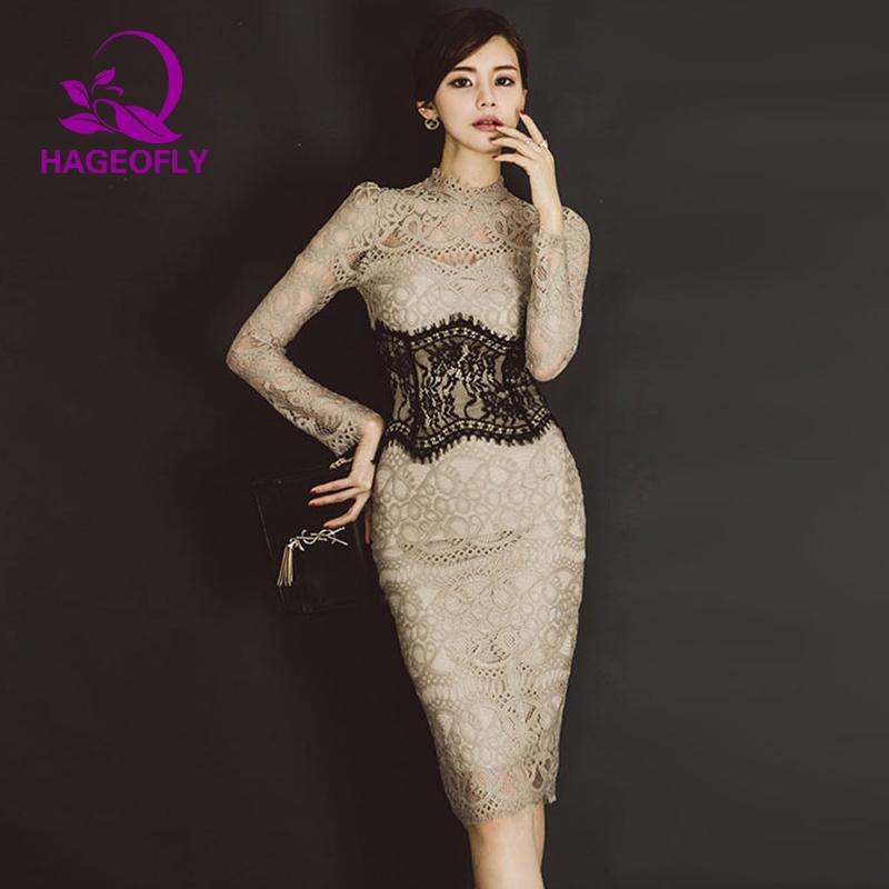 한국어 우아한 드레스 베이지 레이스 슬림 Bodycon 오피스 숙녀 섹시한 무릎 길이 긴 소매 드레스 여성 여성의 봄 2019