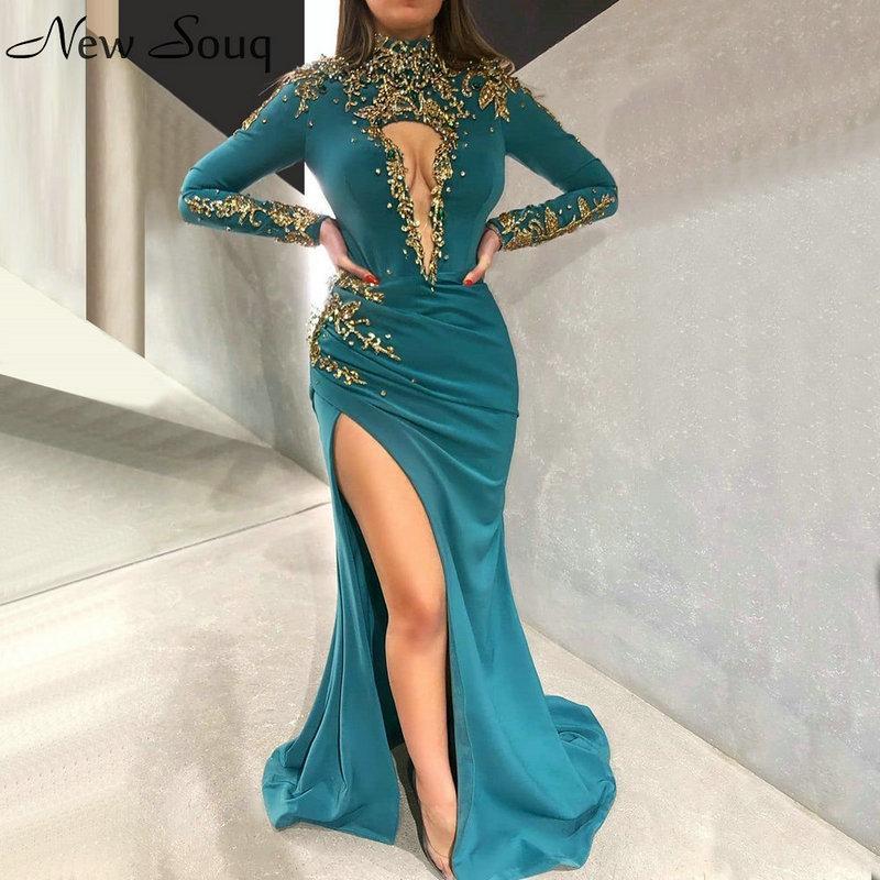 2020 Sexy Side Split Русалка Высокий Вырез Вечерние Платья С Длинным Рукавом Бисером Ближний Восток Дубай Robe De Soiree Prom Party Платья