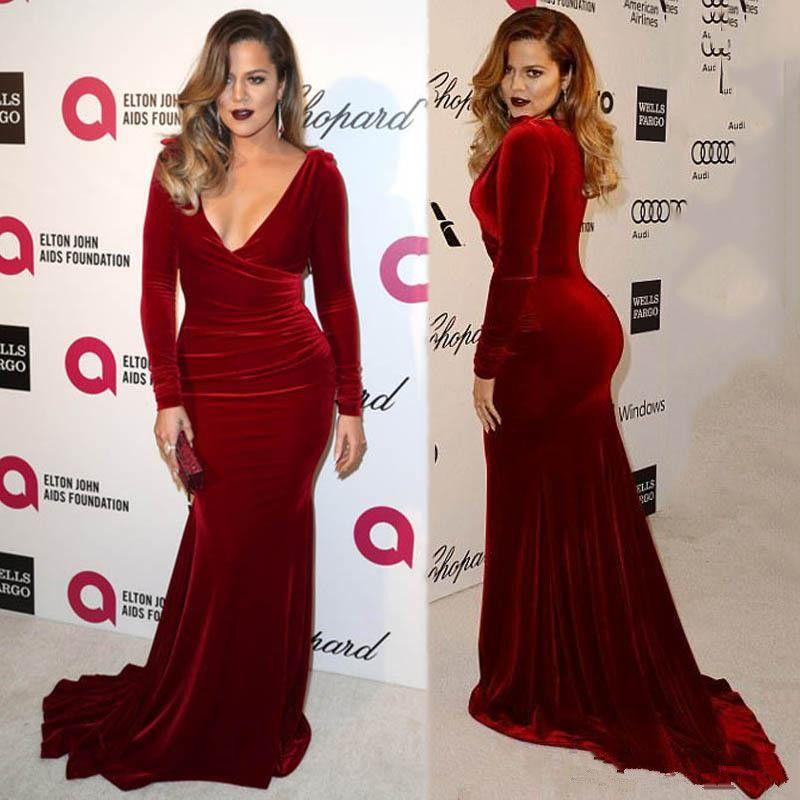 2020 Oscar Khloe Kardashian Wine Red Velvet Plus Size Bainha Vestidos Sexy V-decote celebridade Partido Bainha Vestidos Vestido de Tapete Vermelho