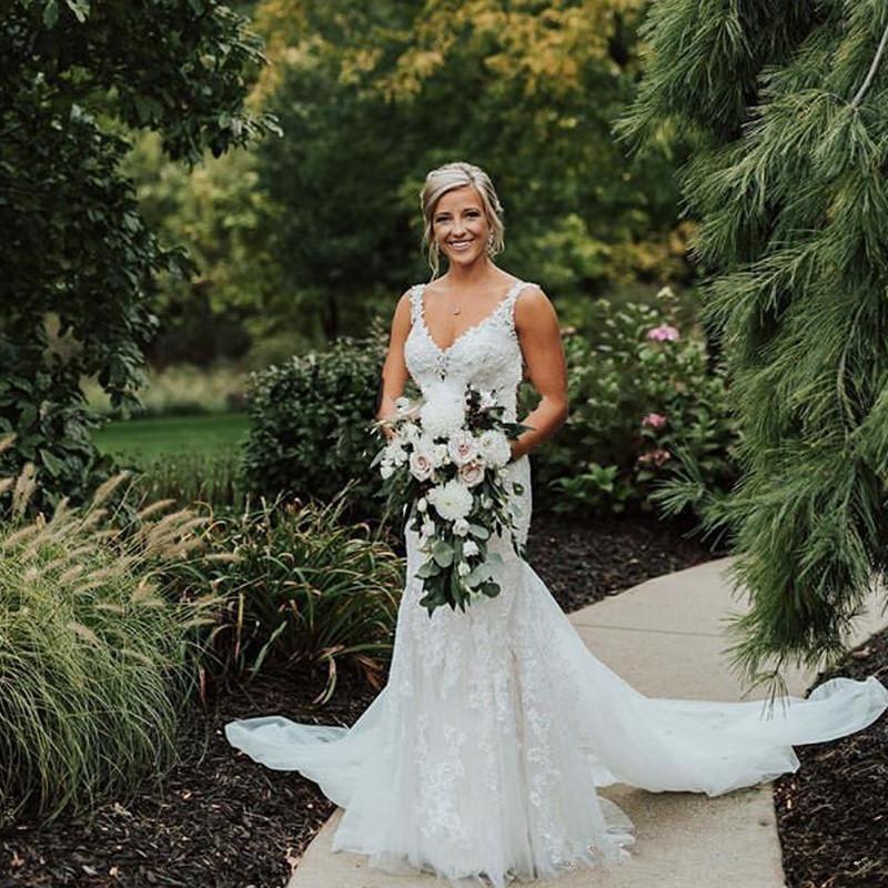 2019 País V Neck Vestidos de noiva sereia Lace Applique vestido de casamento Voltar vestidos de noiva longa extensão Tulle Trumpet vestido formal