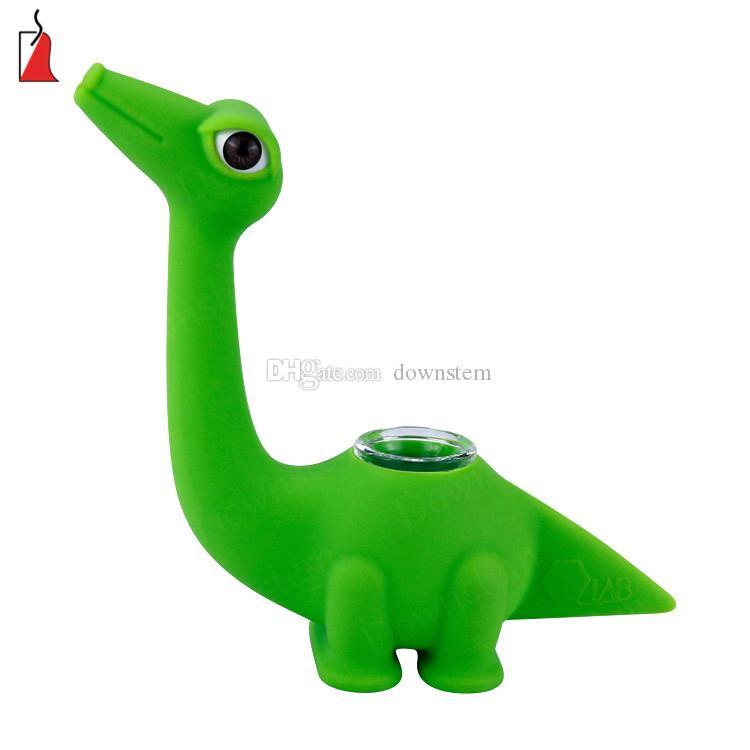 Tubes et tuyaux de Dinosaur forme créative silicone pipes en verre bong eau bongs silicone barboteur plate-forme dab en verre avec set bol en verre