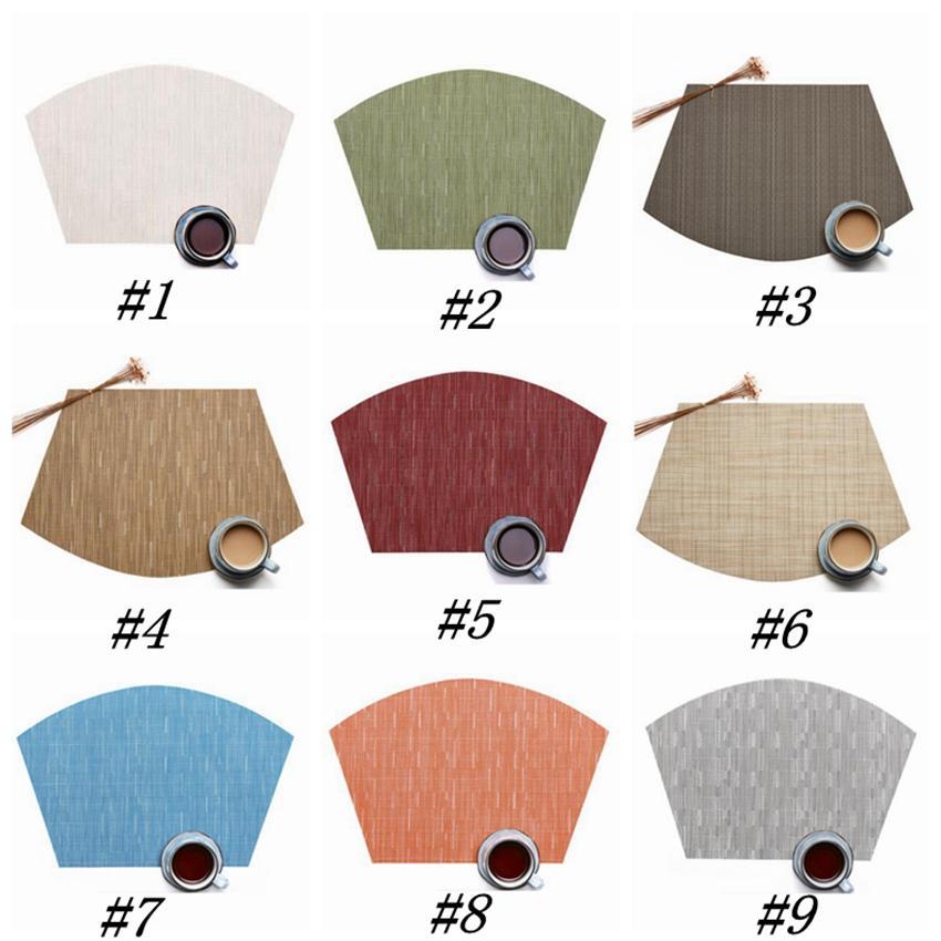 9 Colors Fan Shaped Tableware Pad PVC Western Style Food Mat Non Slip Heat Insulation Placemat 45*30cm Table Mat ZZA1211
