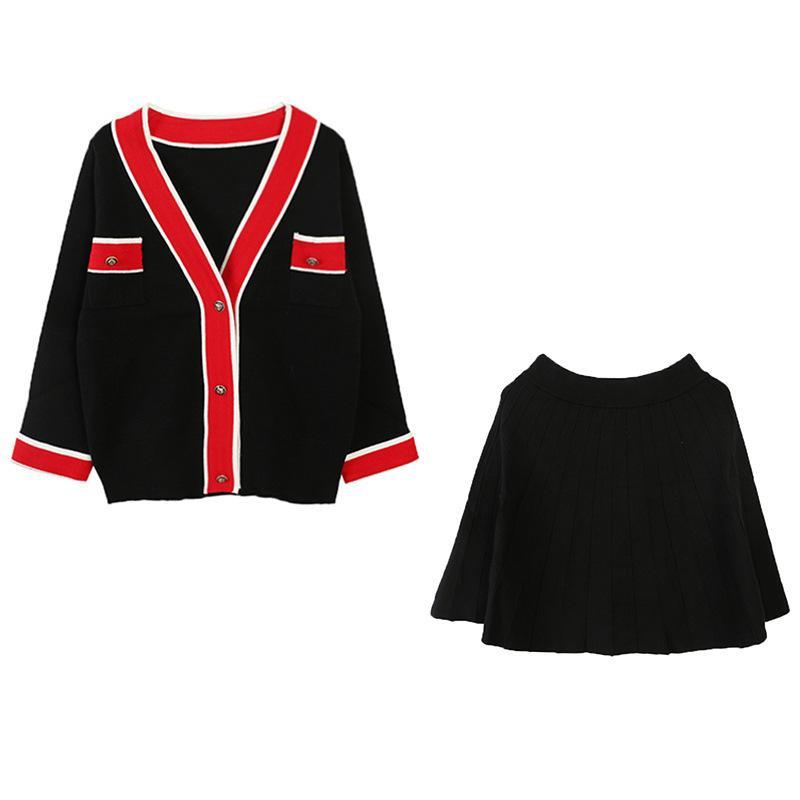 abbigliamento di nuovo fondo di 2019 inverni di Autunno Con Scollo A V urto di colore del merletto del cappotto del maglione collocazione piccolo gonna a pieghe vestito