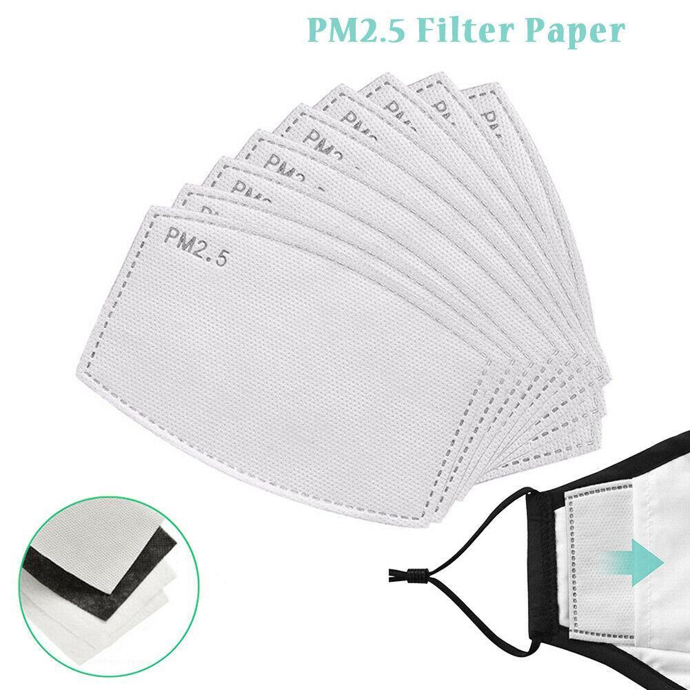 100 PCS مكافحة PM2.5 المنشط قناع فلتر الكربون 5-طبقة أقنعة السلامة إدراج التنفس الفم قناع المرشحات بالضباب الحساسية حبوب اللقاح