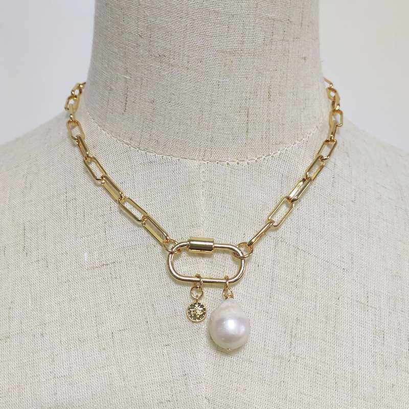 Женщины Панк себе цвета золота цепи Choker Мода Hip Hop Природные перлы пресной воды высокого качества ожерелье год сбора винограда