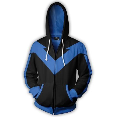 3D Printed Blue Fire Shadow Men's Long Sleeve Jacket Coat Hooded Sweatshirt S-5XL