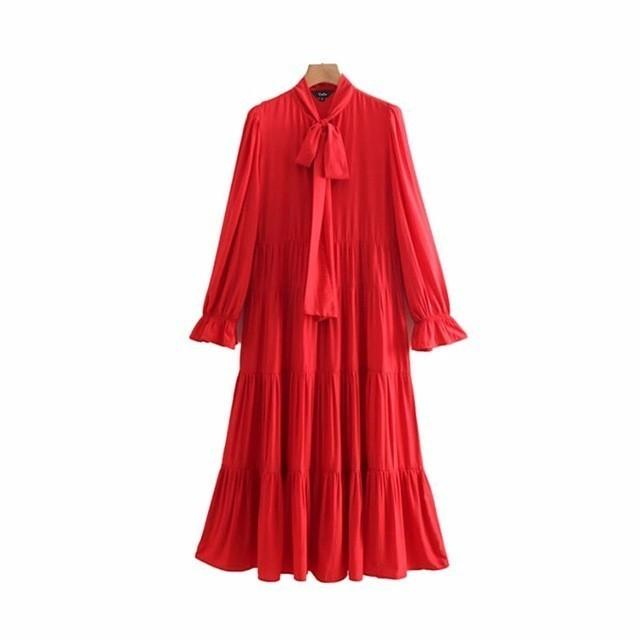 2019 women bow tie collar red dress long sleeve side zipper female casual dresses stylish mid calf vestidos QB174