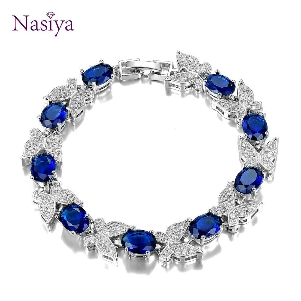 New Luxury Butterfly Bracelets For Women Aquamarine 925 sterling silver Charm bracelets Party Anniversary Gifts Fashion Jewelry