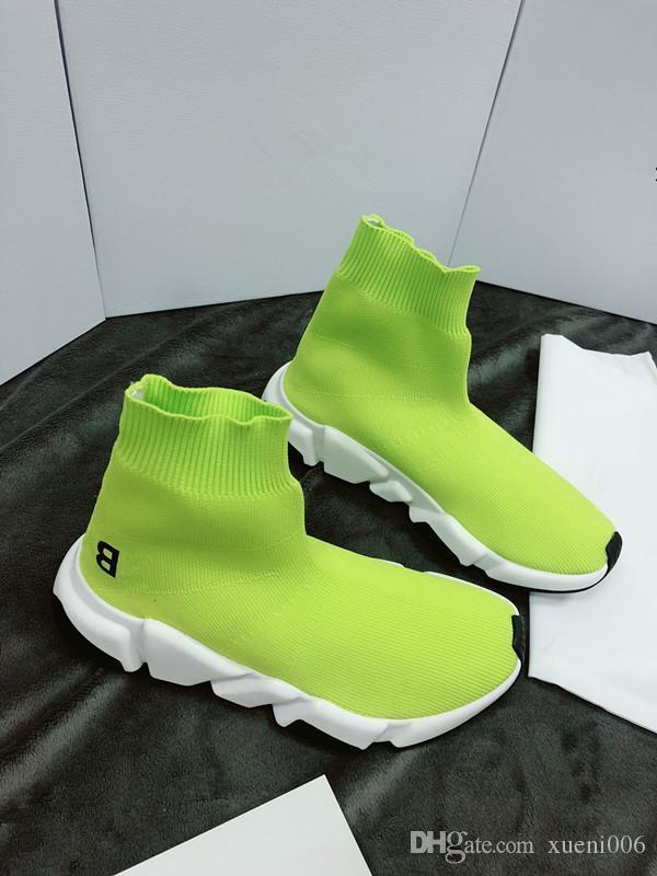 Носки Дизайнерская обувь Марка Speed Race Тренеры Runners Черный Красный Тройной Черный Плоский Мужчины и Женщины моды сапоги Кроссовки bll1801026010