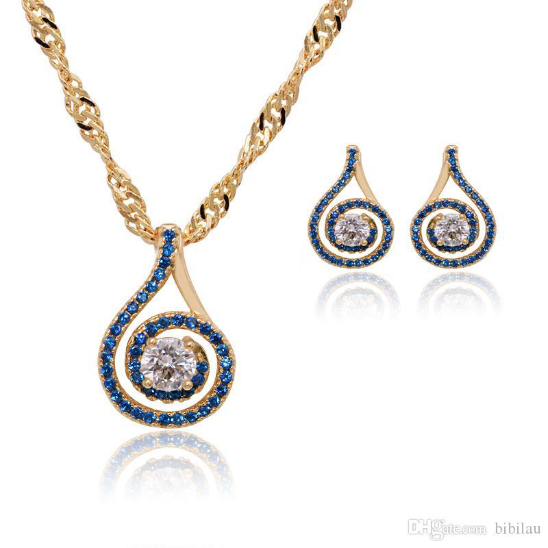 (202S) mgfam pedra azul conjunto de jóias (brincos pingente de colar) mulheres 18k banhado a ouro amarelo sorte rodada boa qualidade