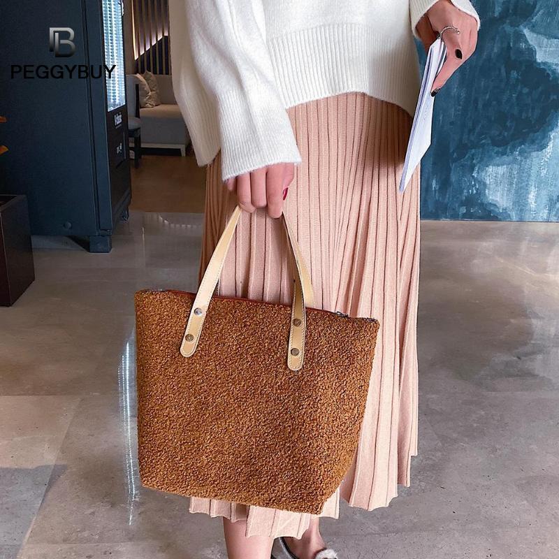 Mulheres Moda Handbag velo Pure Color Ombro Saco de compras Casual Totes bolsa Messenger Bags Dropshipping
