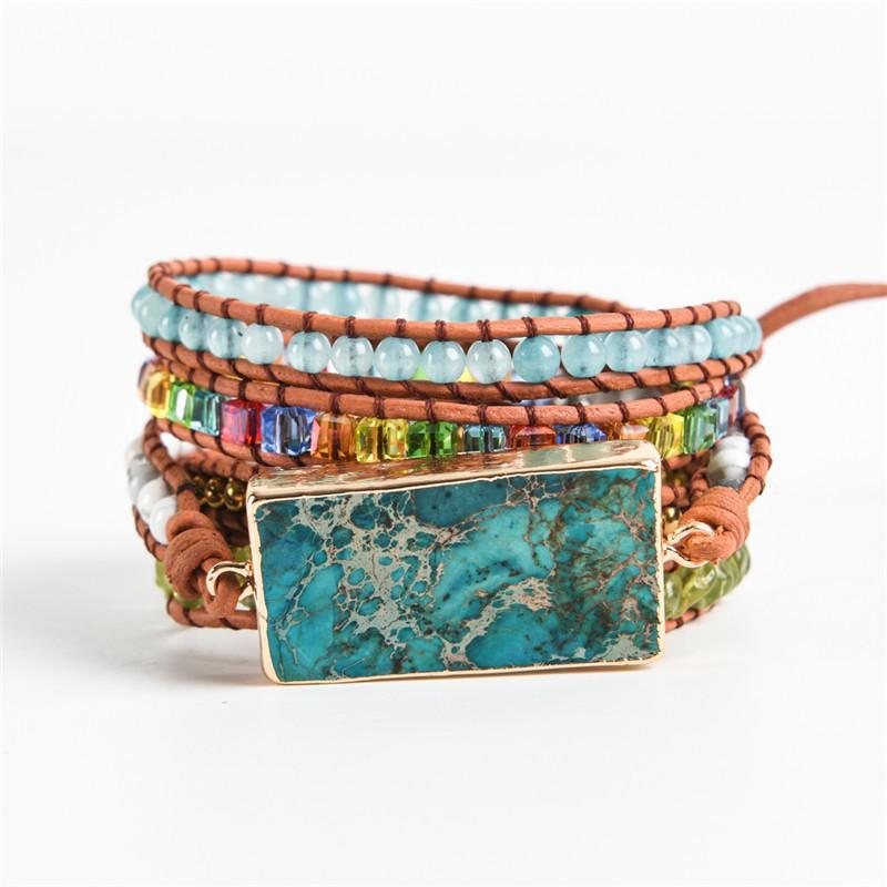 Newest Mixed Natural Stones Charm 5 Strands Wrap Bracelets Handmade Boho Bracelet Women Leather Bracelet