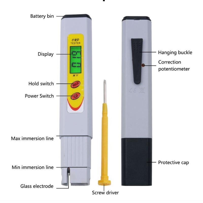 ORP Meter Negative Potential Pen With LCD Lighting Indicator Portable Household Drinking Water Quality Testing Equipment Oxidati