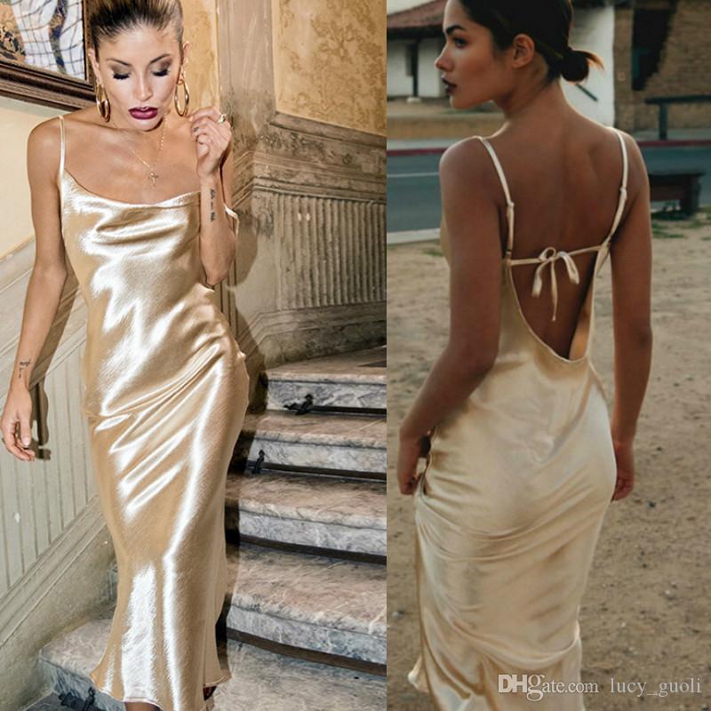 Gold Open Back Sarafan sexy vintage Long Dress Female Party Strap Dresses Long vestido Backless Skinny Satin robe longue femme maxi dress