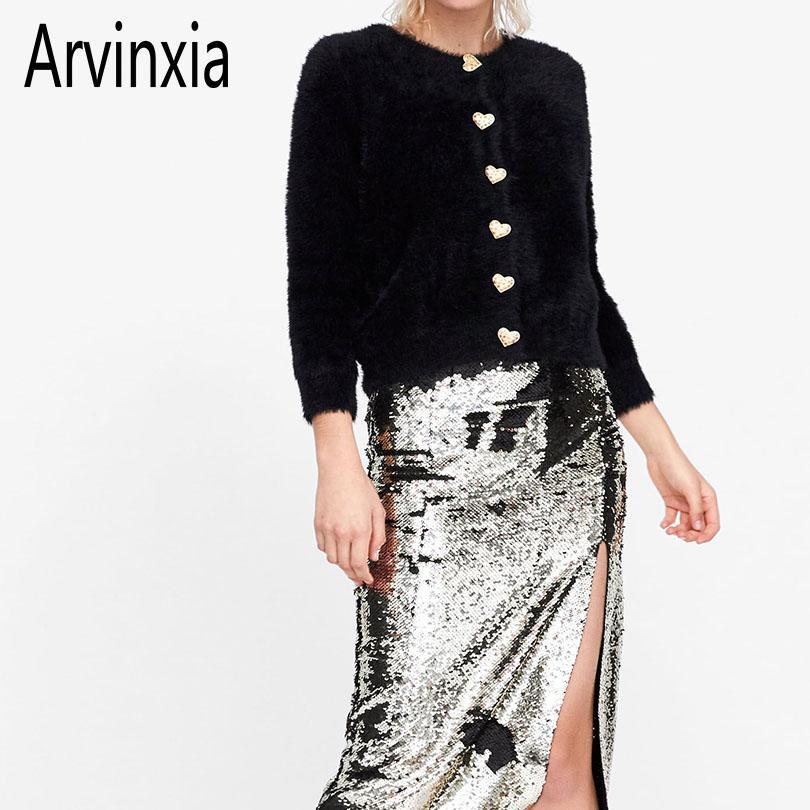 Arvinxia الأزياء الصلبة الماس أزرار المرأة بالأزرار جديد خمر طويلة الأكمام سيدة البلوزات مثير الخامس الرقبة واحدة اعتلى الأعلى