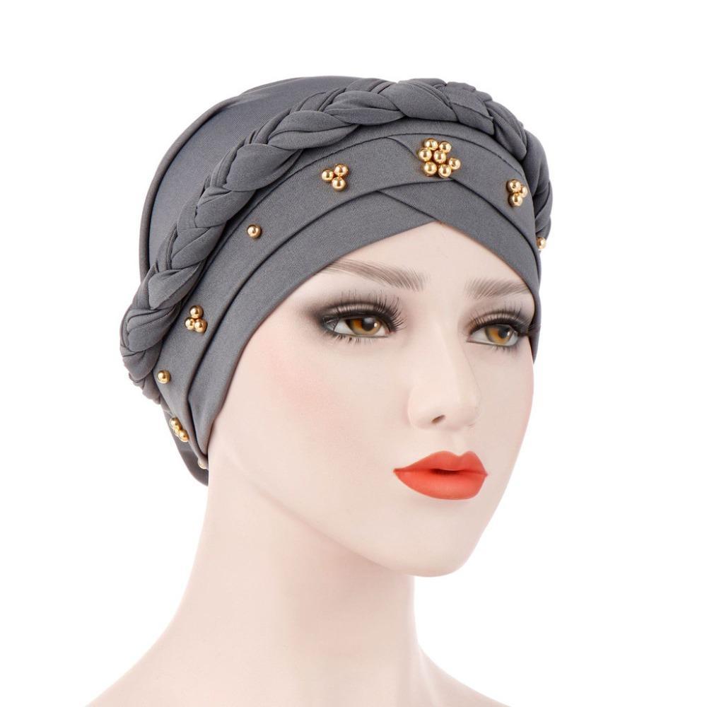 Women Beading India Hat Muslim Ruffle Cancer Chemo Beanie Turban Head Wrap Cap 9