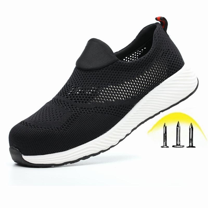 Dropshipping Indestructible Chaussures hommes et de femmes Chaussures de sécurité Steel Toe Cap Bottes INCREVABLE Slip-on respirante Chaussures de sport