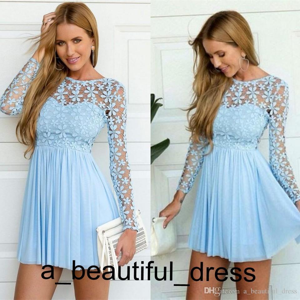 short light blue graduation dress
