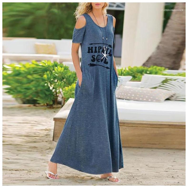 Short Sleeve Frauen Kleidung Brief-Druck-Frauen-beiläufige Kleider loser Rundhalsausschnitt Srapless Womens Designer-Kleider Mode