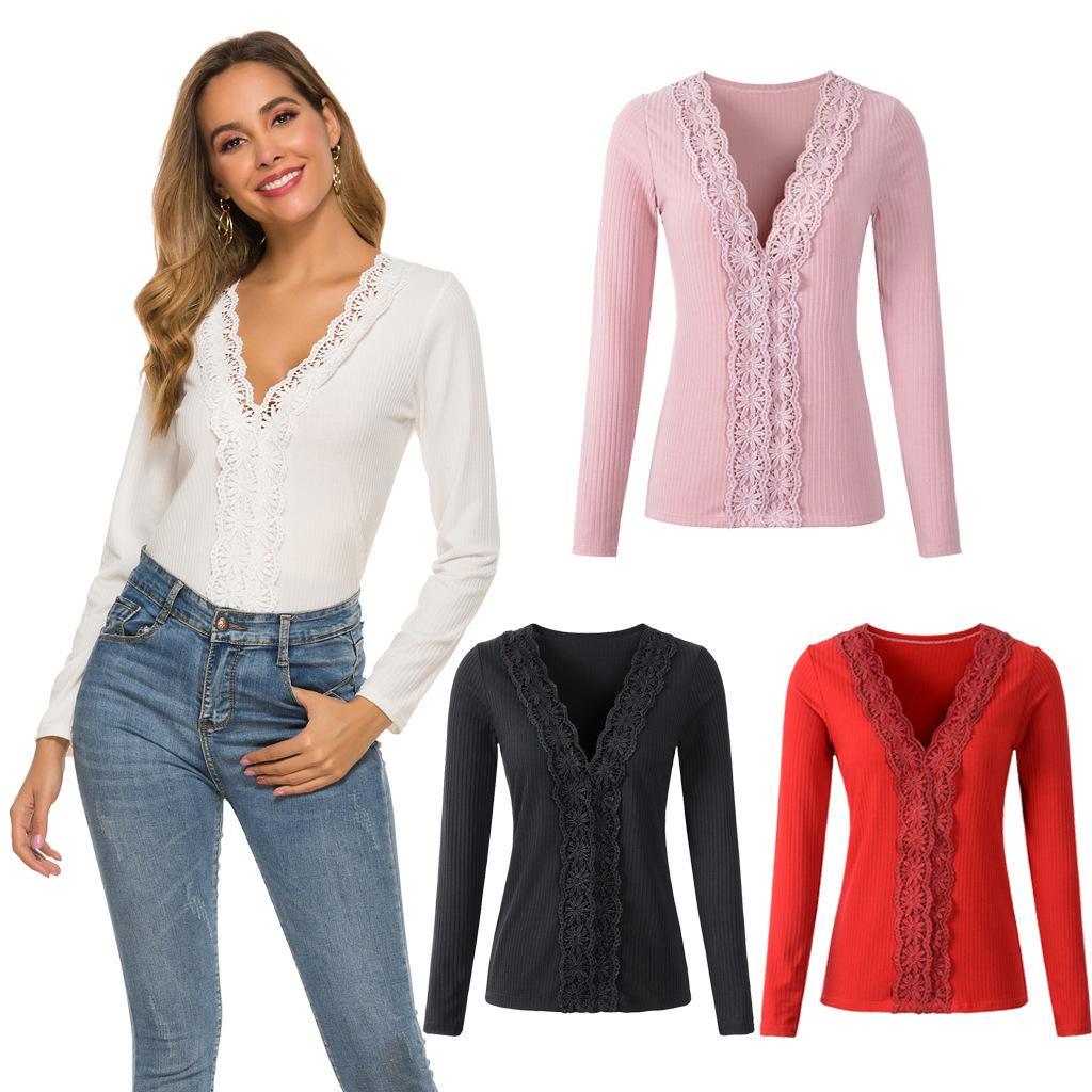 Maglione Pizzo donne sexy scollo a V a maniche lunghe solido maglione che basano camicetta