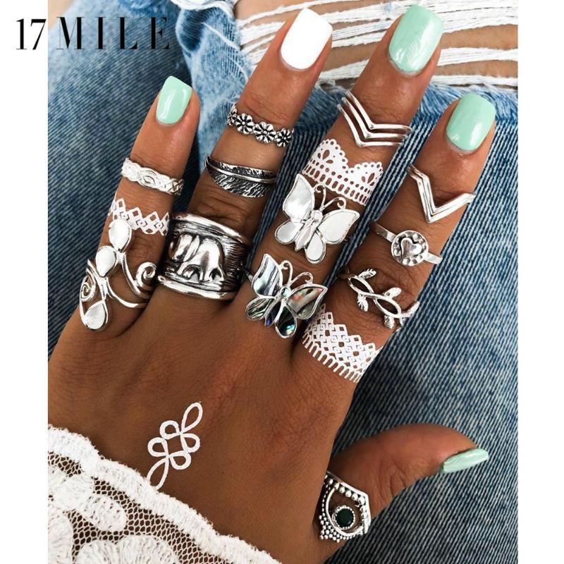 17MILE Folhas Vintage Borboleta Anel Set Para Mulheres Prata Anéis de cor definido Cruz do coração Bohemian Conjunto Jóias
