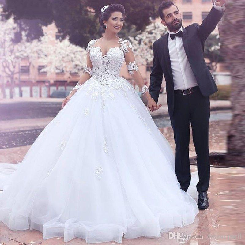 Compre 2019 Vestidos De Boda árabes Modernos Del Vestido De Bola Dijeron Mhamad Sheer Cuello De Manga Larga De Encaje Apliques Corte Tren Más Tamaño