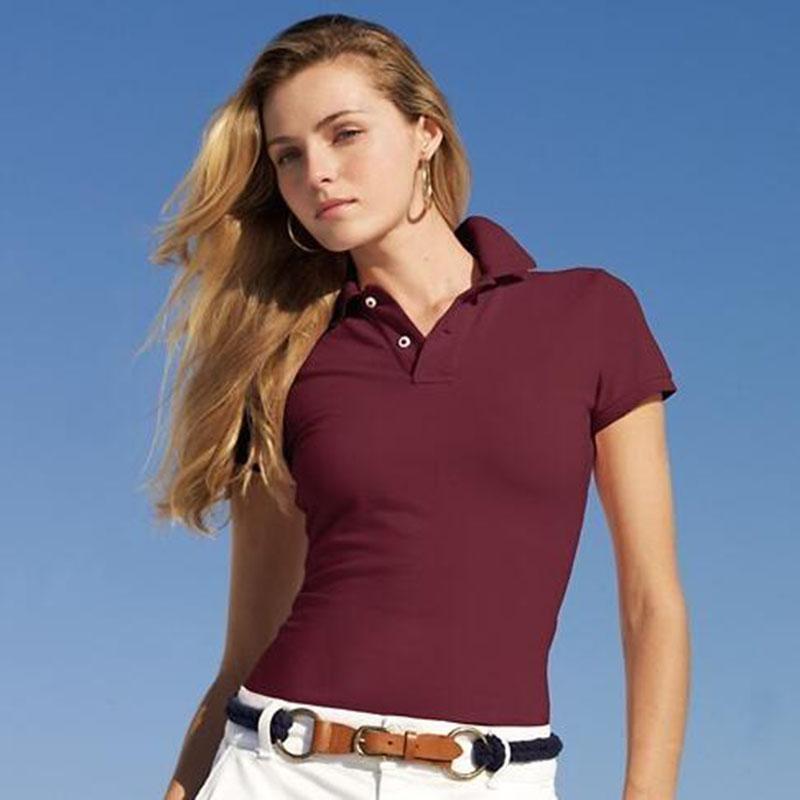 Venda quente pólos das mulheres Verão lapela manga curta Camisa Polo Com Cavalo Imprimir Moda de Lady