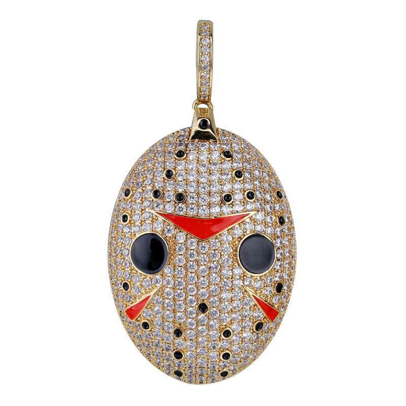 18K Gold überzogen Jack Maske Halsketten-Anhänger gefror heraus Zircon Edelstahl-Seil-Ketten für Männer Frauen