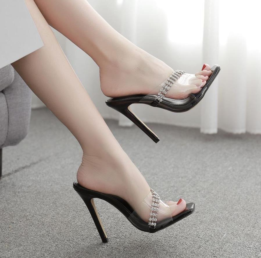 With Box Sexy Silver Black Squared Toe