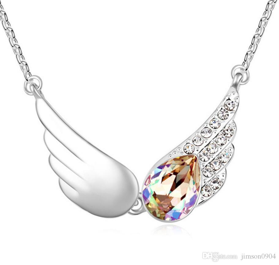 Made in China fashion jewelry Woman Originality Ornaments Using Swarovski Elemental Crystal Necklace Song of angels Fine clavicle chain