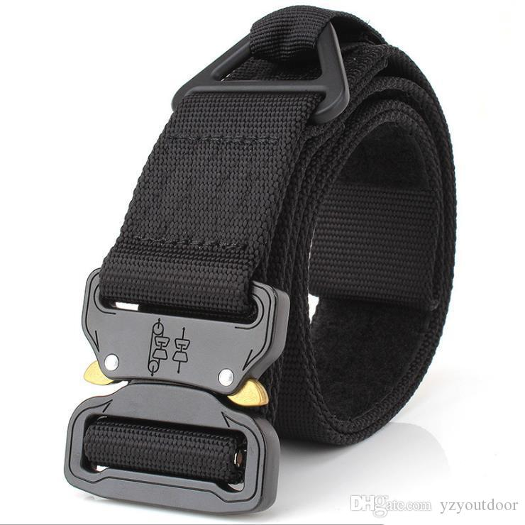 Cintos ajustáveis Homens Tactical Belt Heavy Duty cinto de nylon Army Tactical com fivela de metal Caça Acessórios