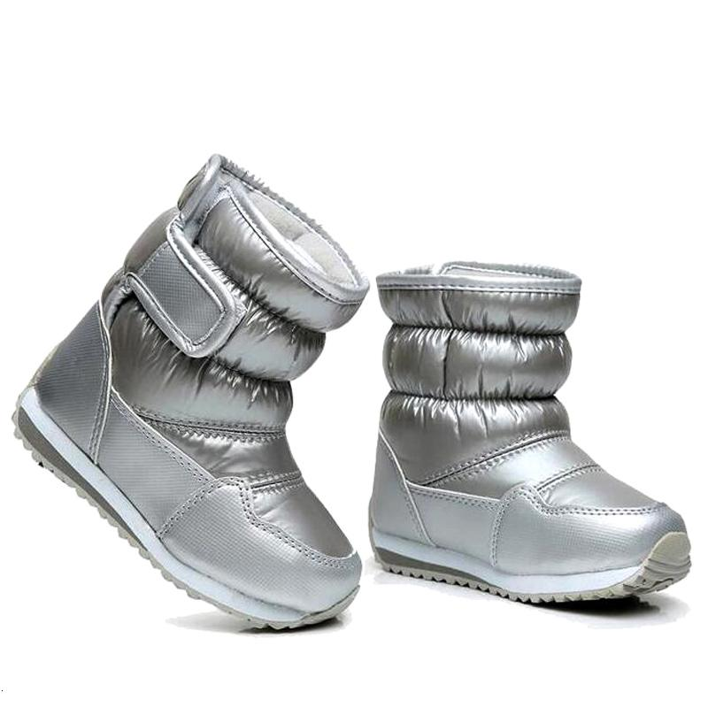 Botas de goma infantil para chicos, chicas mediados de la pantorrilla botas para la nieve de bungee cordones chicas impermeables zapatos de deporte de arranque guarnición de la piel niños bootMX190917