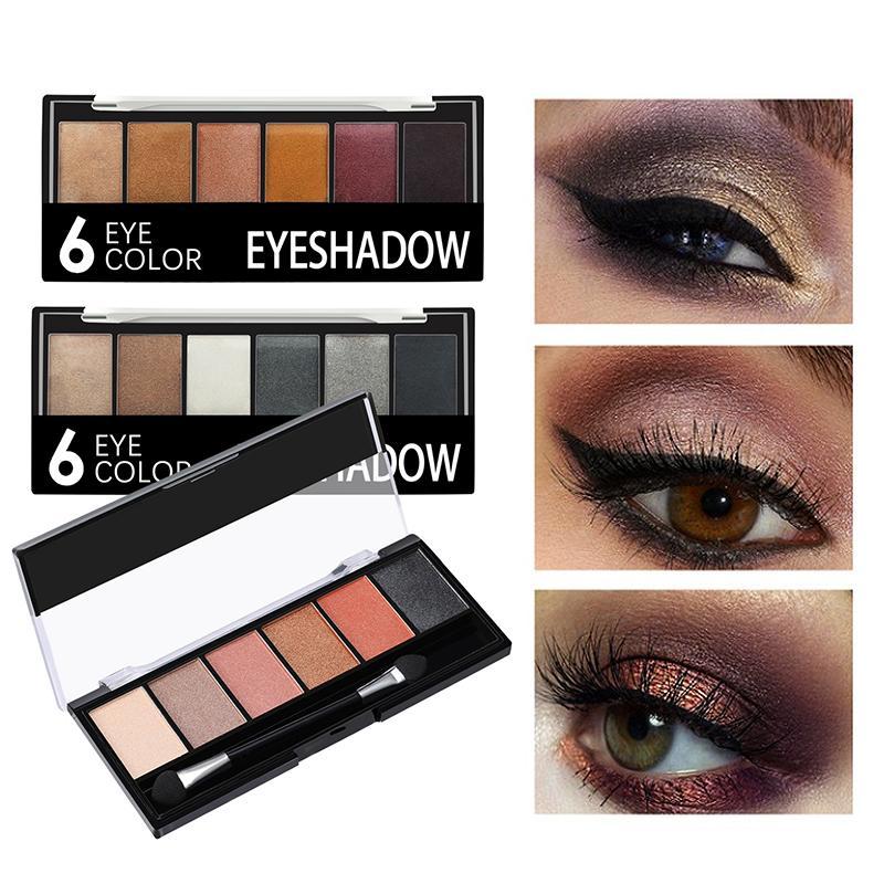 6 colori ombretto luccichio glitter liscio cremoso trucco ombretto paletta glamour color smokey ombretto