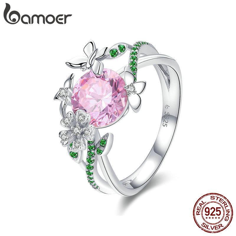 BAMOER 925 Sterlingsilber-Secret Garden-Blumen-Schmetterlings-Finger-Ringe für Frauen-Rosa CZ Hochzeit Verlobungsring Schmuck BSR010